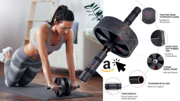 Amonax Bauchroller Bauchmuskeltrainer mit Knieschoner