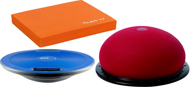 SportPlus Balance Board (blau) Movit-Balance Pad (orange) Togu-Jumper (rot)