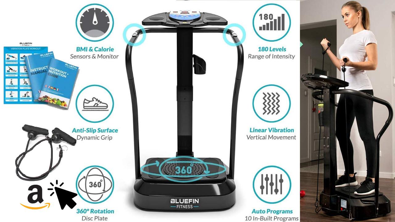 Bluefin Fitness Vibrationsplatte mit Säule & Haltestangen