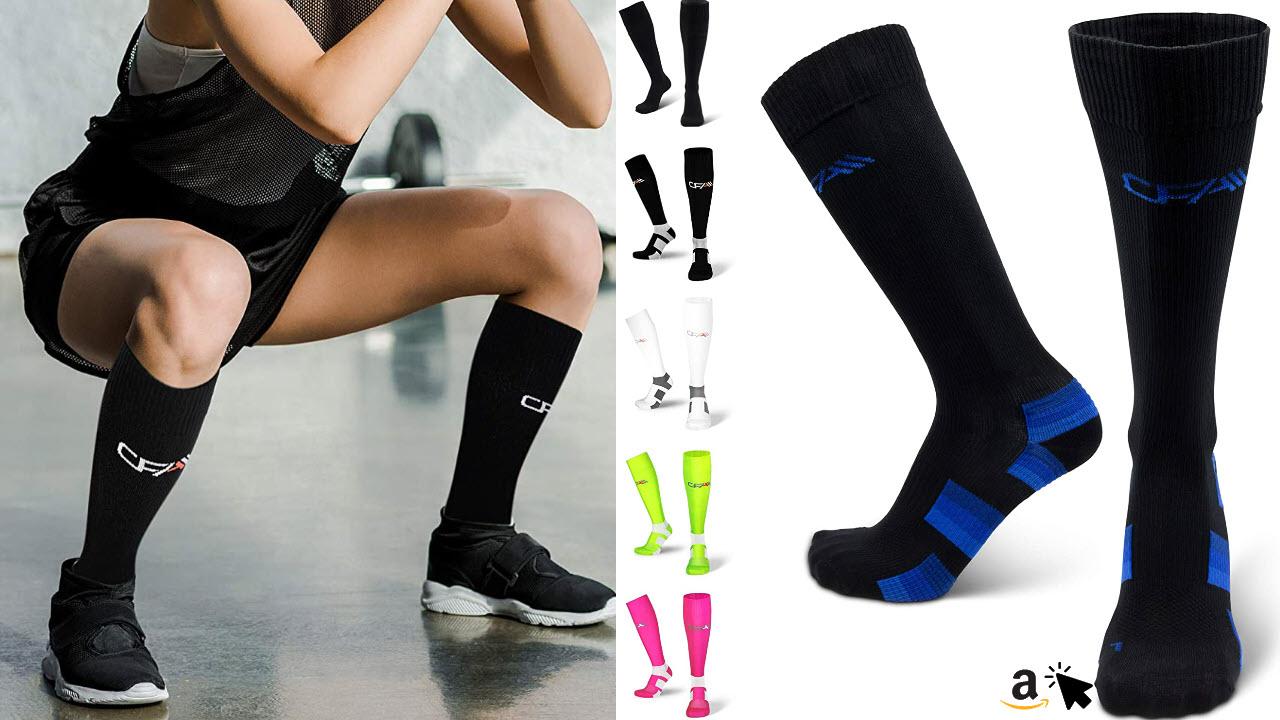 COMPRESSION FOR ATHLETES Kompressionsstrümpfe für Damen und Herren mit Sprunggelenkschutz und Mittelfußstütze