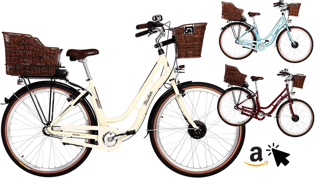 FISCHER E-Bike Retro Hollandrad mit Korb