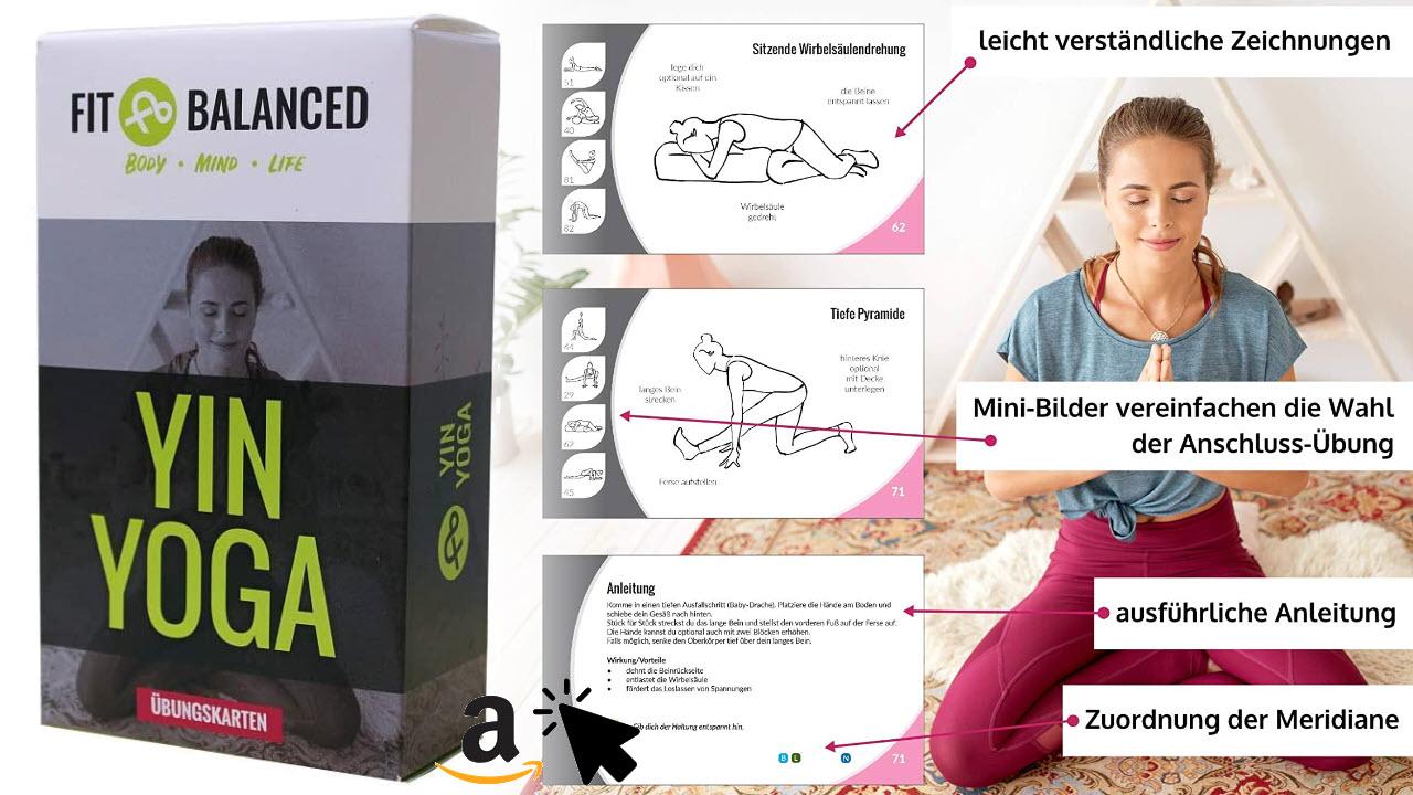 FIT&BALANCED Yin Yoga Übungs-kartenset für Anfänger und Fortgeschrittene