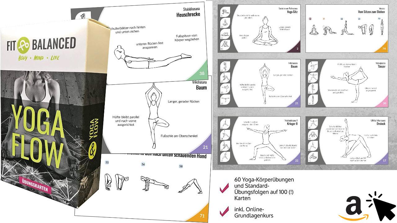 Fit&Balanced Yoga Karten für Anfänger und Fortgeschrittene mit 60 Yogaübungen
