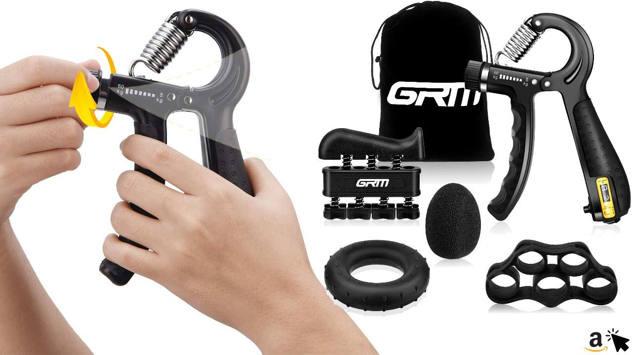 GRM Handtrainer Set - Fingerhantel verstellbar mit Zählfunktion
