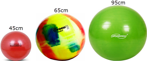 Gymnastikball Größen von Trenas 45cm, TOGU My-Ball 65cm, Physionics 95cm