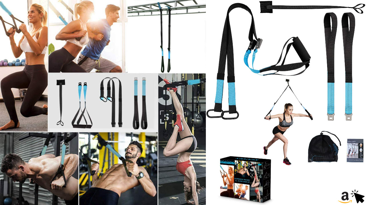 KEAFOLS Schlingentrainer Sling Trainer Schlingentraining Set mit Türanker Suspension Trainer Fitness Band für Ganzkörpertraining