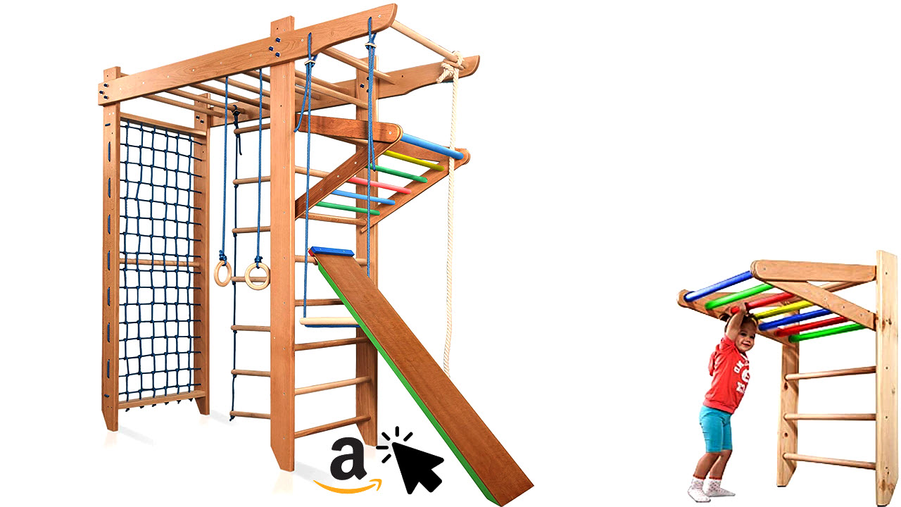 KIND Turnwand Holz Klettergerüst fürs Kinderzimmer Indoor Spartak-5-240