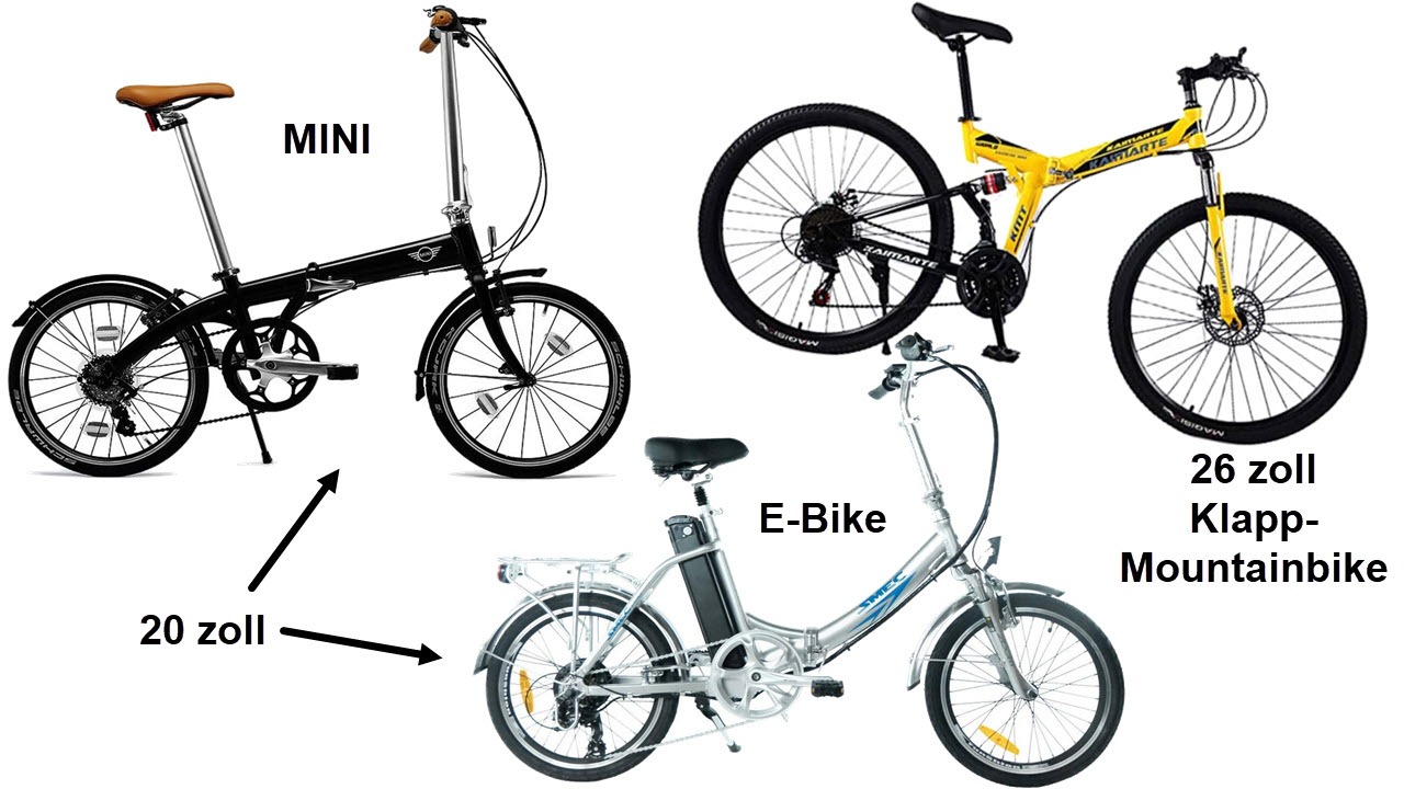 Klapprad Varianten - Mini Klapprad 20 zoll - Klapp E-Bike und Falt-Mountainbike