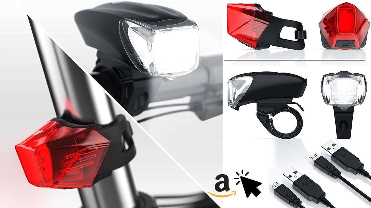 LED Akku Fahrradbeleuchtung Set StVZO - Mini Fahrradlampen-Set Vorderlicht Rücklicht