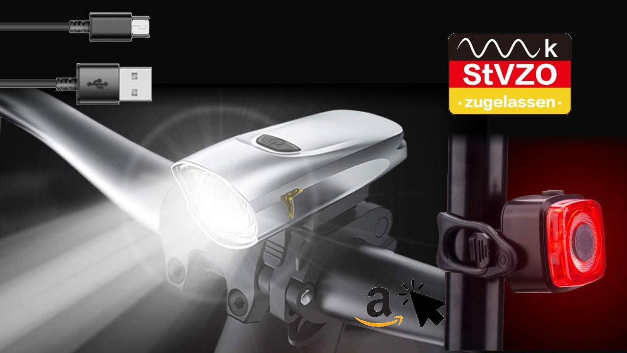 LIFEBEE LED Akku Fahrradlicht Set mit USB-aufladbar - StVZO Zugelasse Fahrradbeleuchtung