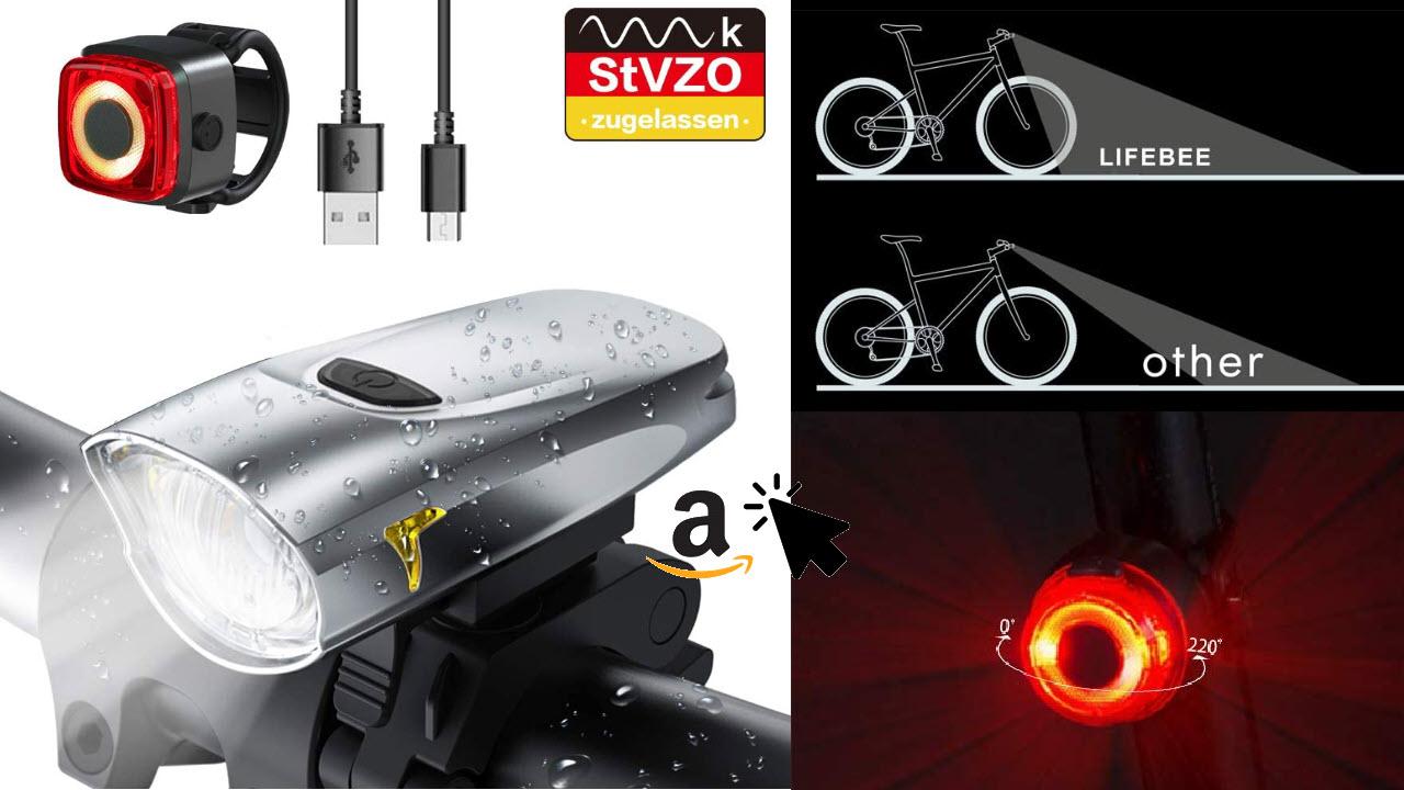 LIFEBEE LED StVZO Fahrradlicht Set - 2600mAh Akku - IPX5 Wasserdicht Frontlicht Rücklicht