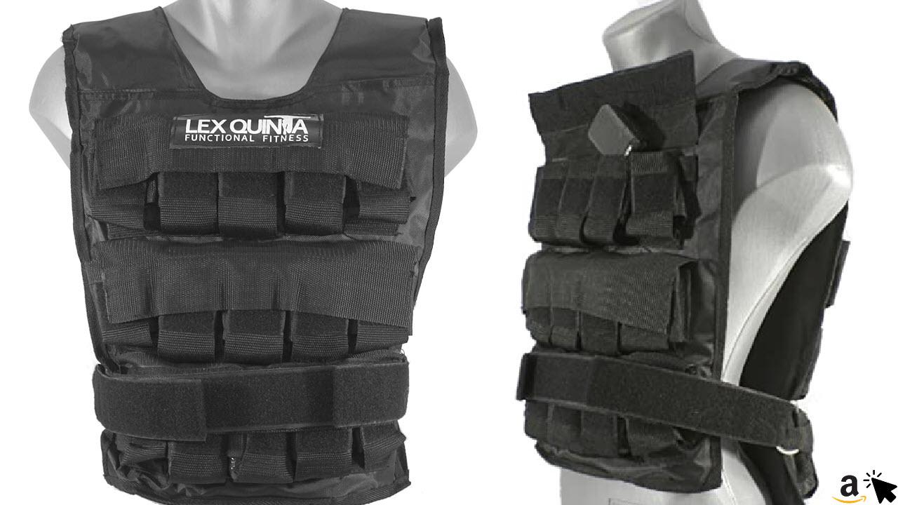 Lex Quinta Gewichtsweste Heavy Duty - Trainingsweste mit einzelnen 1kg Guss Gewichten - in 15, 20 oder 30kg