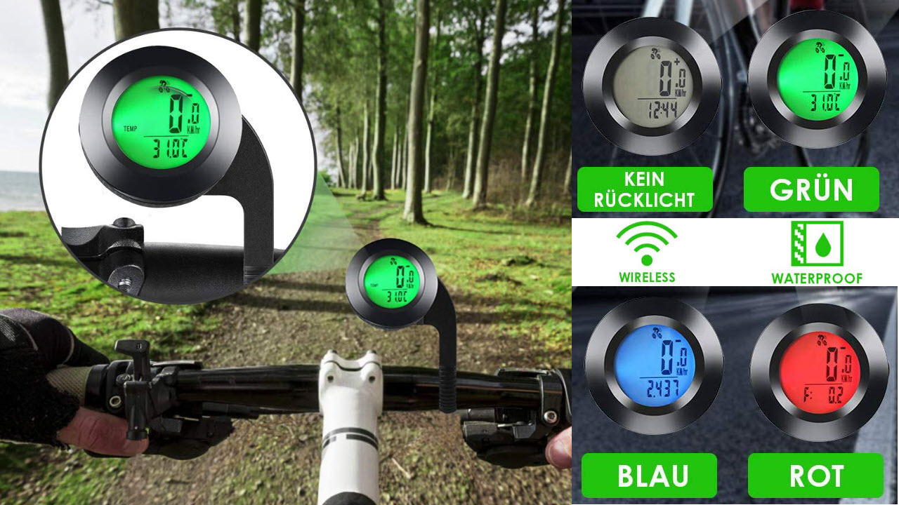 MonTop Fahrradcomputer Kabellos Wasserdicht Fahrradtachometer mit 3 Hintergrundbeleuchtung