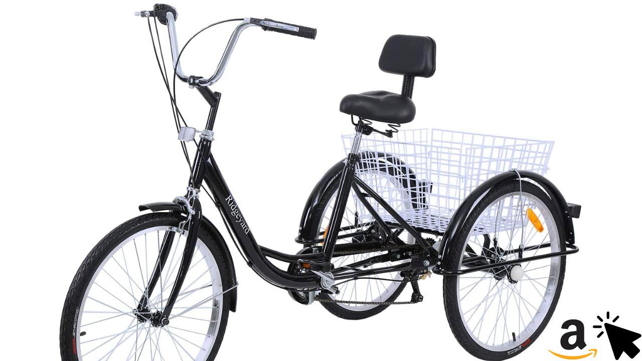 MuGuang Dreirad für Erwachsene mit Rückenlehne & Einkaufskorb