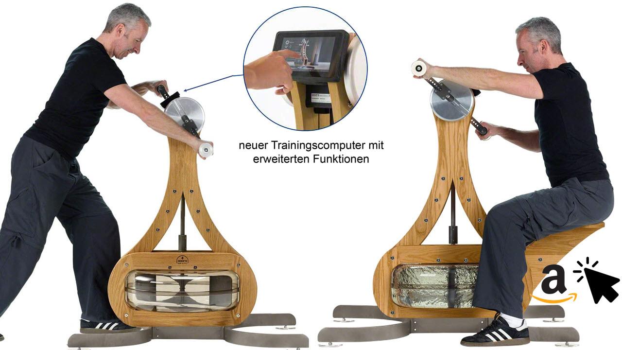 NOHrD WaterGrinder Oberkörpertrainer Rudergerät Eiche