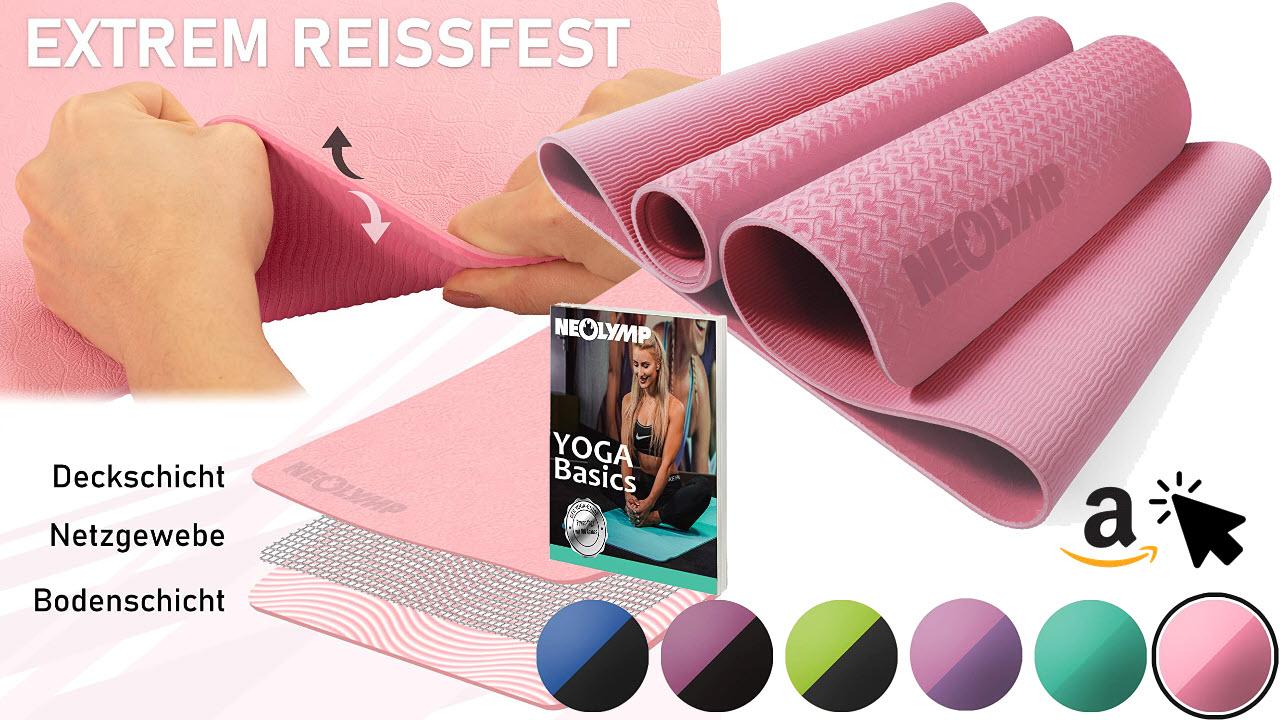 Neolymp Yogamatte zum mitnehmen für Draußen und Unterwegs