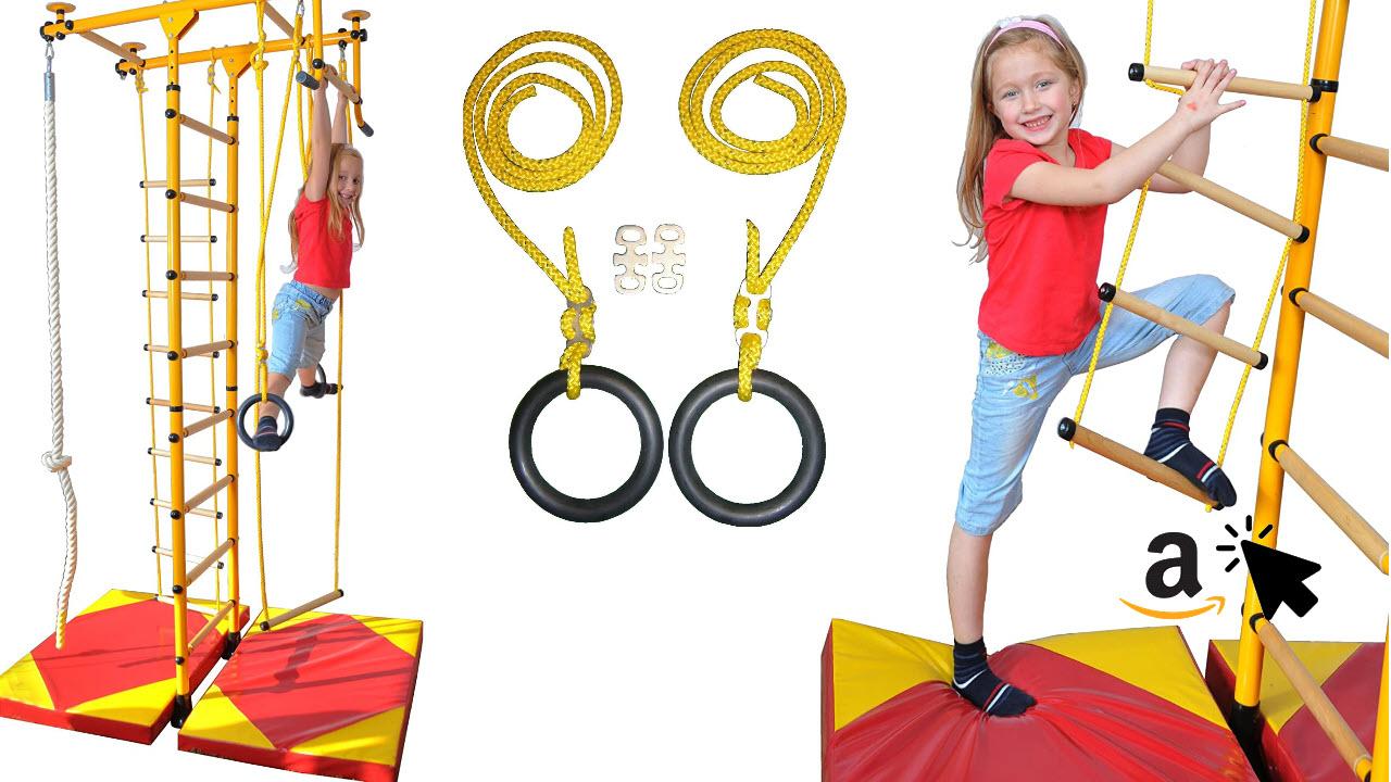 NiroSport FitTop M1 Indoor Klettergerüst für Kinder Sprossenwand für Kinderzimmer Turnwand Kletterwand