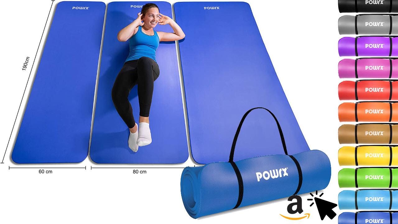 POWRX Gymnastikmatte Fitnessmatte ohne Weichmacher Phthalatfrei
