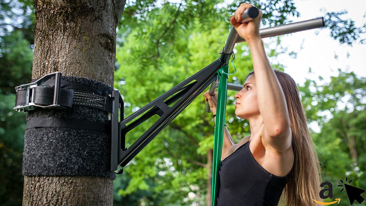 PULLUP Klimmzugstange & Dip Stange für Wand oder Draußen Baum Garten