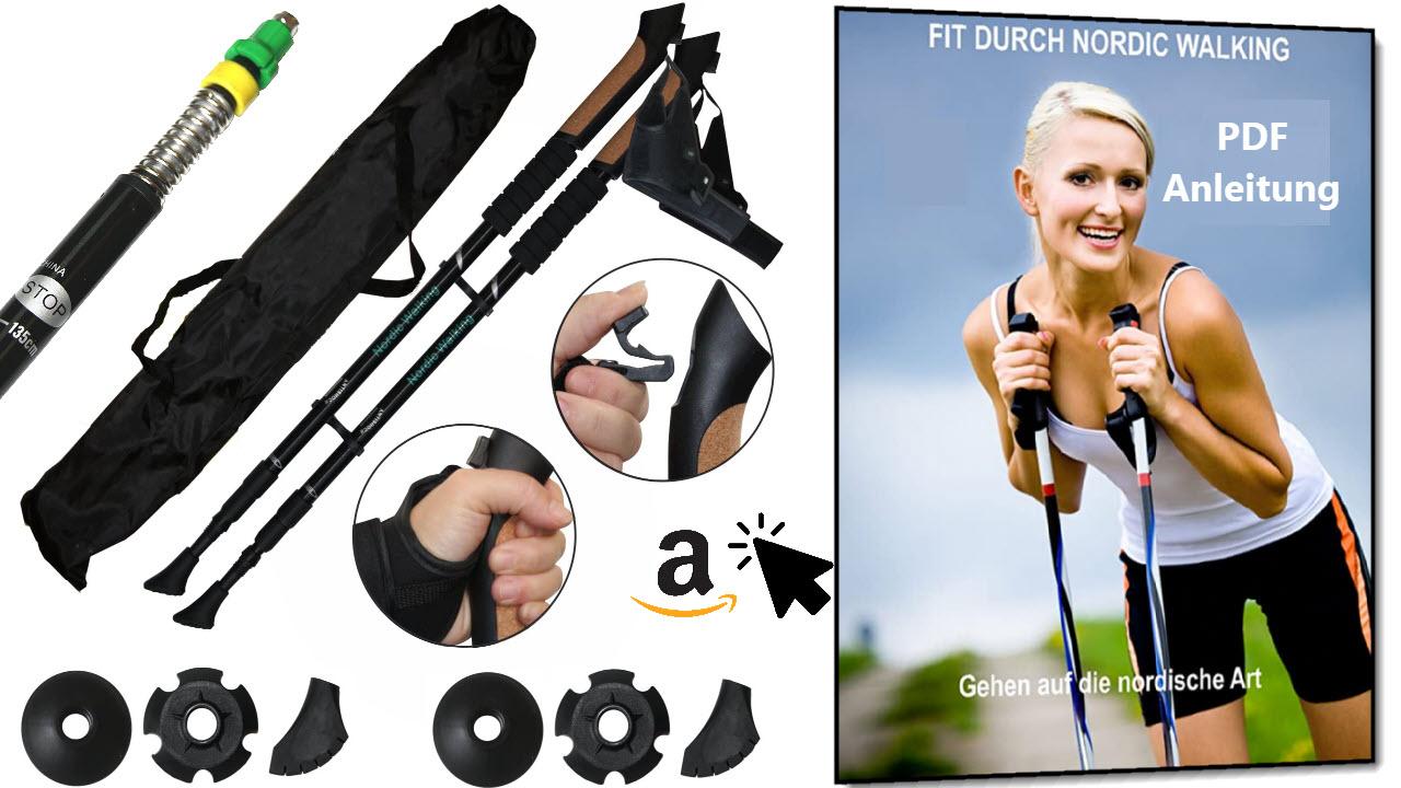 SchwabMarken Nordic Walking Stöcke mit Daumenschlaufe und Anti-shock Dämpfungssystem