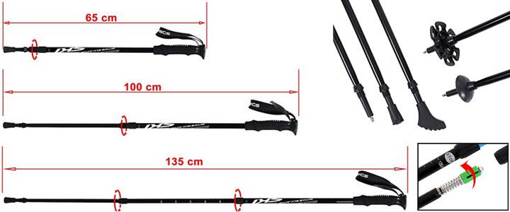 Songmics Nordic Walking Stöcke Verstellbar 65 - 135 cm ergonomisch mit Anti-Shock Dämpfungssystem