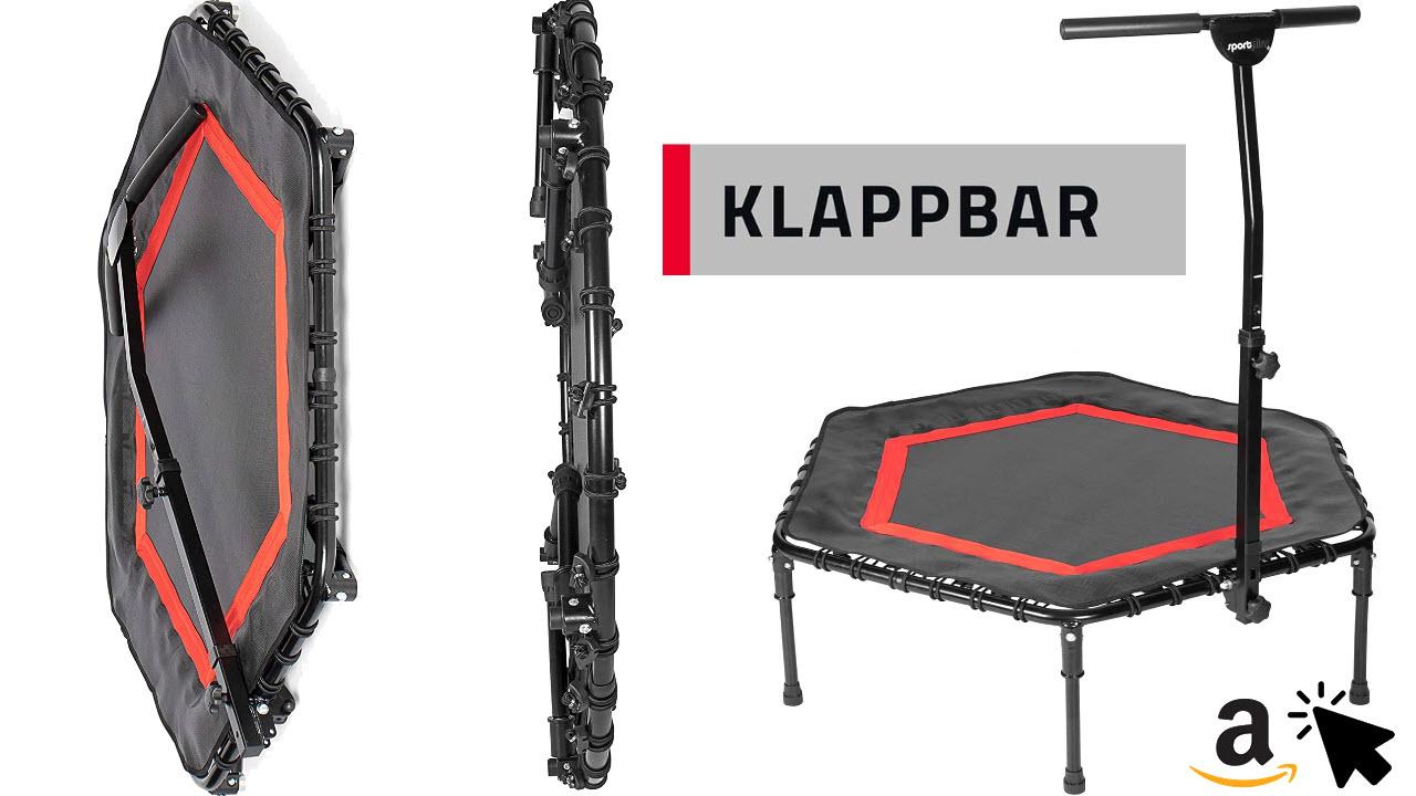 SportPlus Fitness-Trampolin leise Gummiseilfederung Haltegriff Klappbar Platzsparend