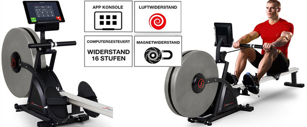 Sportstech Rudergeräte RX500 RX600 mit Smartphone steuerbar - Fitness App mit Trainingsergebnis - 16 Programme - Magnetwiderstand bzw Luft- und Magnetwiderstand - Widerstandsstufen - Wettkampfmodus - Pulsgurt kompatibel - klappbar