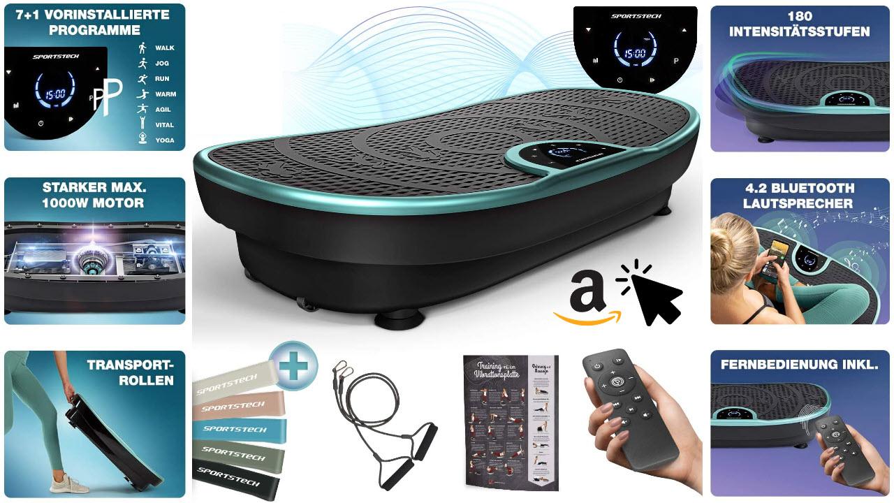 Sportstech VP250 Vibrationsplatte leise mit bluetooth lautsprechern