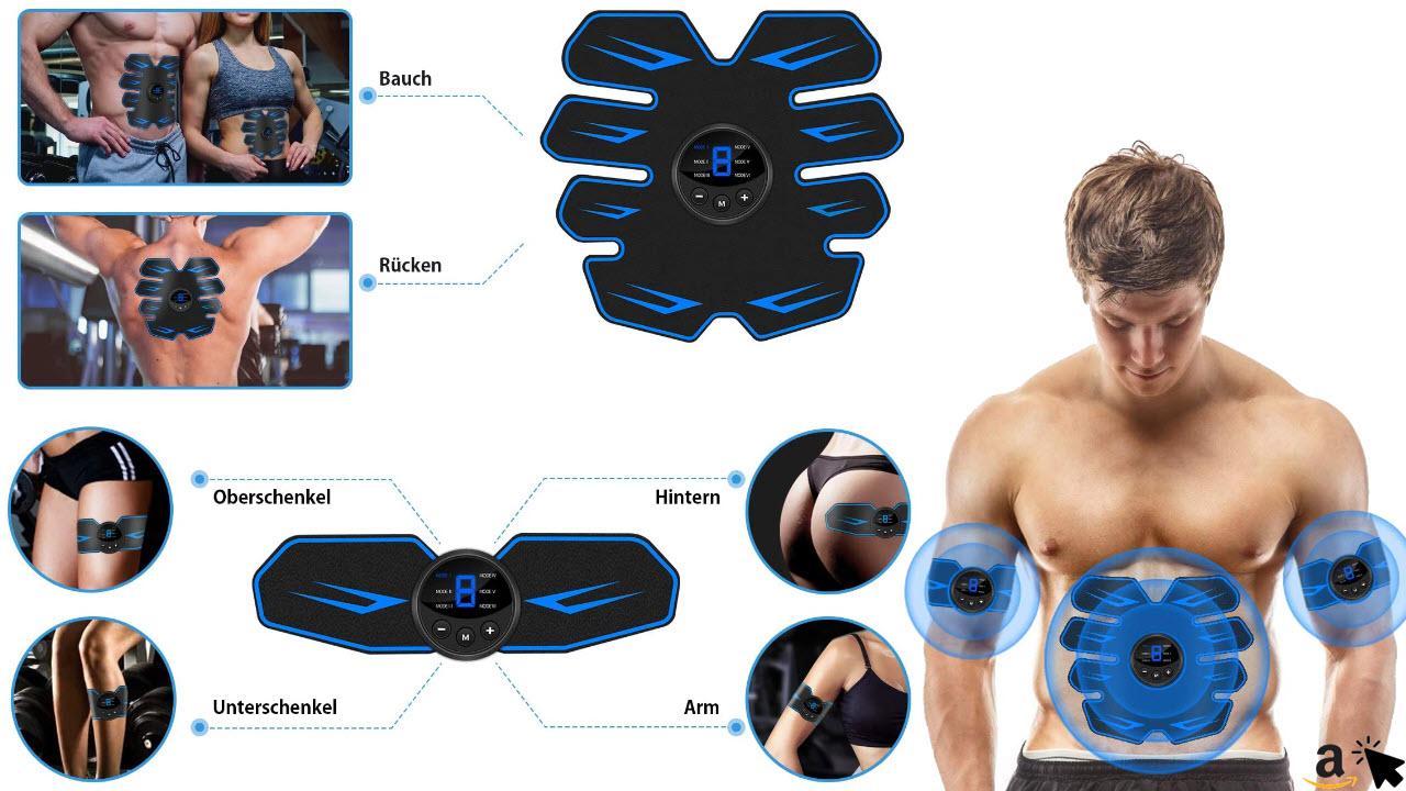 VARNIC EMS Trainingsgerät - EMS Bauchmuskeltrainer USB-Wiederaufladbarer Tragbarer Muskelstimulator