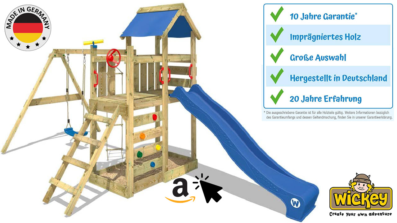 WICKEY Spielturm MultiFlyer - Outdoor Klettergerüst für draußen mit Schaukel, Strickleiter, Kletterwand, Rutsche