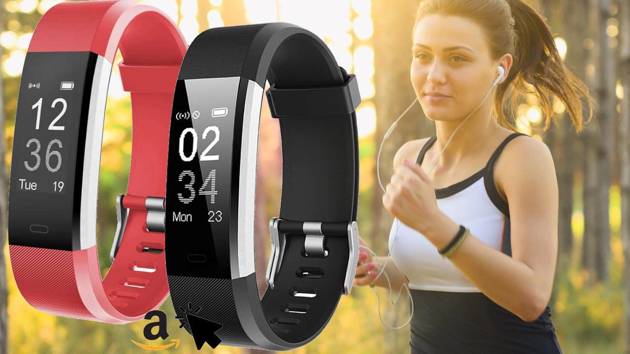YAMAY Fitness Armband mit Schrittzähler Pulsmesser Pulsuhr Smartwatch