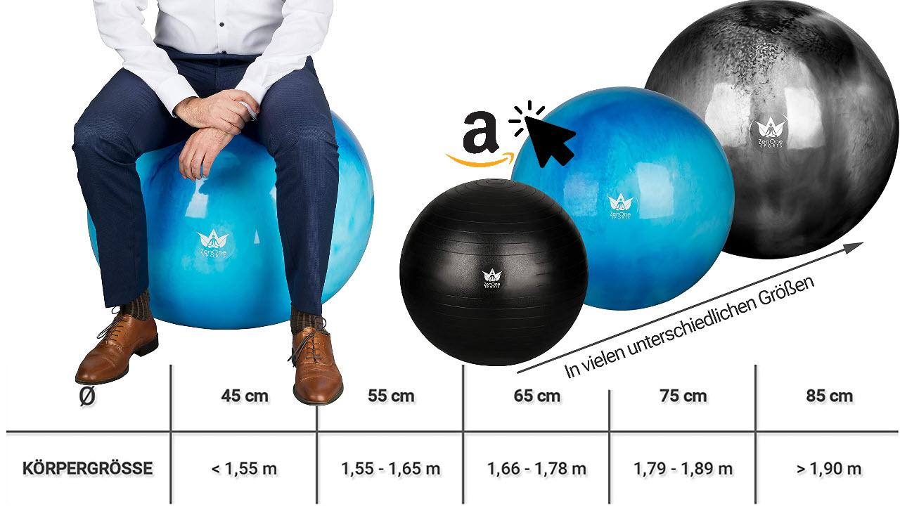 ZenBall Gymnastikball - Premium Sitzball 45cm 55cm 65cm 75cm 85cm